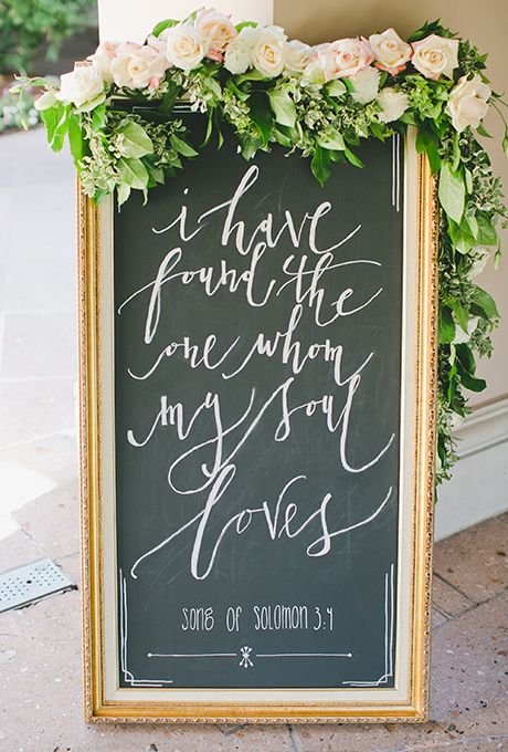Wedding Welcome Signs: Calligraphed Chalkboard Frame with Floral Garlands