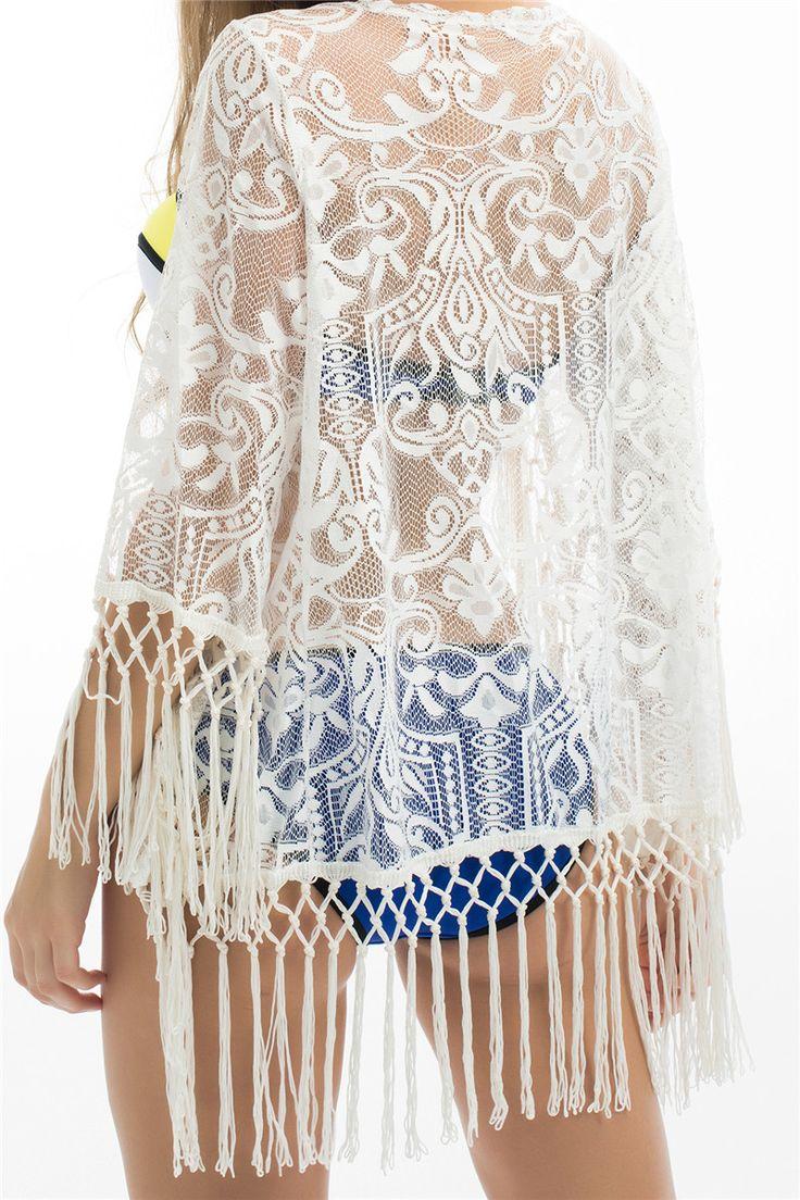$19.56 - Nice P&j 2017 White Sexy Women Lace Crochet Tassel Bikini Swimwear Cover Up Woman Beach Dress Bathing Suit Beach Swimwear cover up - Buy it Now!