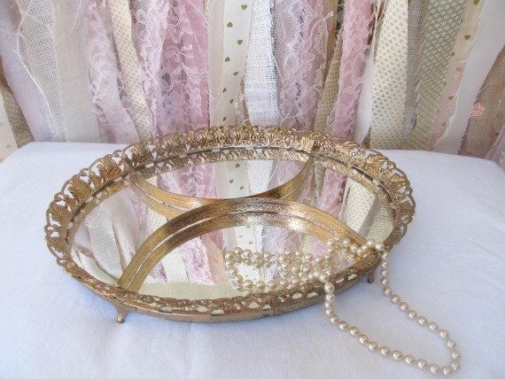 Vanity Makeup Mirror Mirrored Tray Boudoir, Vintage Antique Baby Nursery Decor Bathroom, Bridal Baby Shower Decor Gold Compartments by OnceUponaTimeFinds on Etsy https://www.etsy.com/listing/214454383/vanity-makeup-mirror-mirrored-tray