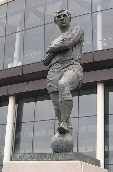 The Bobby Moore statue is a bronze sculpture of the former West Ham and England footballer Bobby Moore, situated outside England's national stadium, Wembley Stadium, in London.