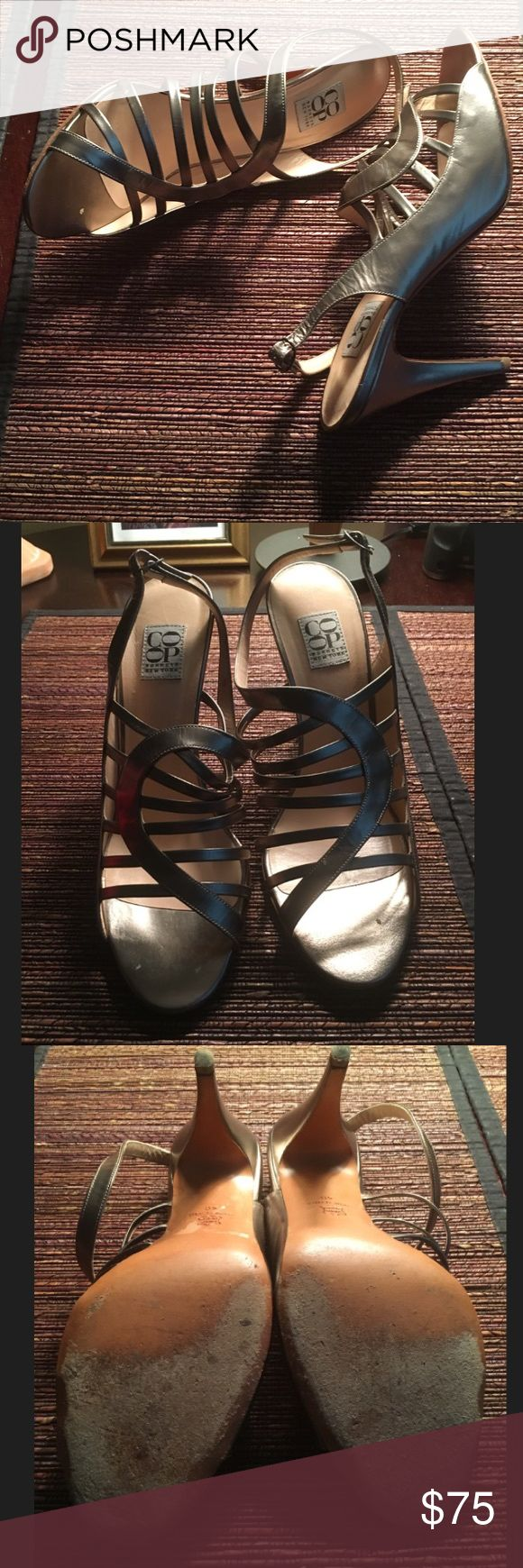 Pewter Sandal size 40 COOP by Barney's New York, leather upper and sole. 4 inch heel. This Sandal is dazzling and has much life left! Barneys New York CO-OP Shoes Heels