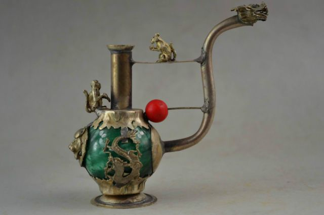 Old Miao Silver & Green Jade Carving Dragon Phoenix Lion Monkey Smoking Tool