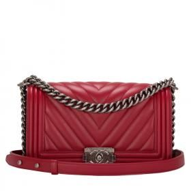 Chanel Red Chevron Medium Boy Bag #chanel