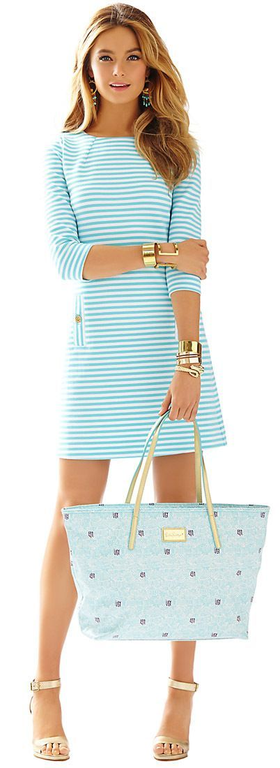Mint And White Striped Little Dress