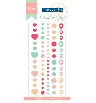 Marianne Design Project NL Enamel Adhesive stickers - Pink & Min