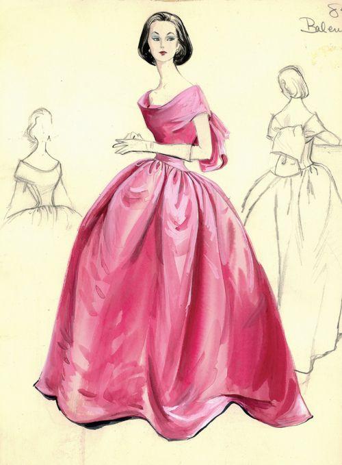 Balenciaga Sketch for Bergdorf Goodman