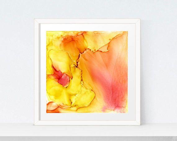 Geel rood oranje abstracte schilderkunst, gele Abstract, mosterd Accent kunst, moderne kunst, oranje, gele, digitale kunst downloaden, grote Canvas Art