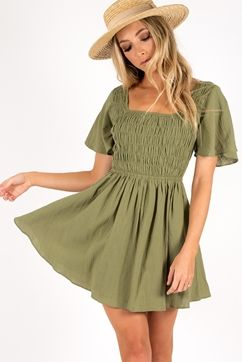 LAZY SUNDAY AFTERNOON SHIRRED DRESS