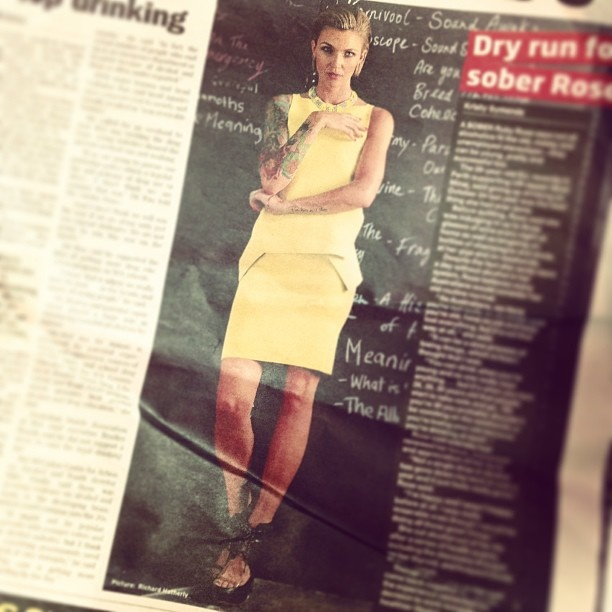 Ruby Rose in The Sunday Times wearing Alexander Wang from ELLE xx