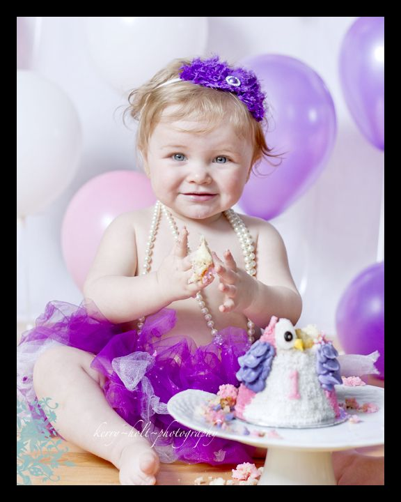 Little Girl, Purple, Owl, Cake Smash, Photography