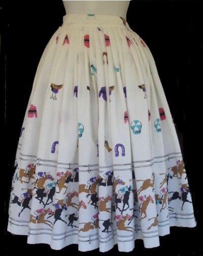 Vintage Horse Racing Novelty Print Skirt
