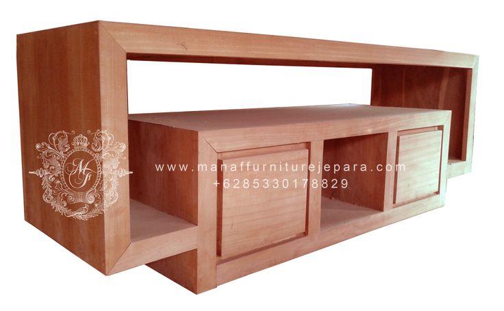 bufet tv minimalis jati, teak wood tv cabinet minimalist