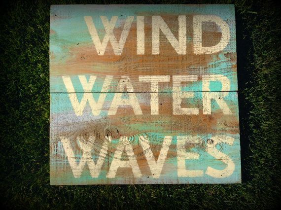 Sign Reclaimed Barn Wood Wind Water Waves by WallStarGraphics