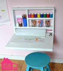 desk with art supplies that can be put away