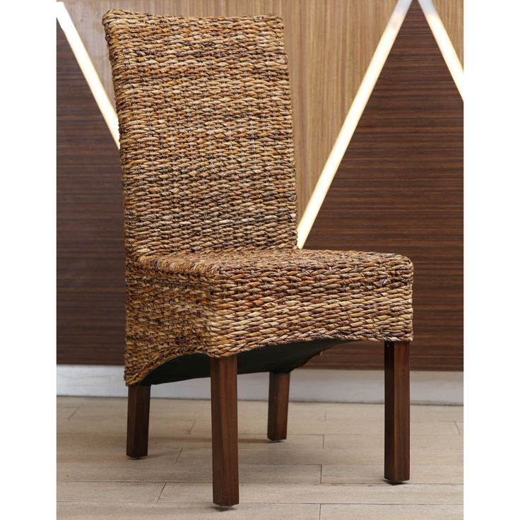 International Caravan 'Gaby' Woven Chair with Mahogany Hardwood Frame (Gaby Dining Chair), Brown