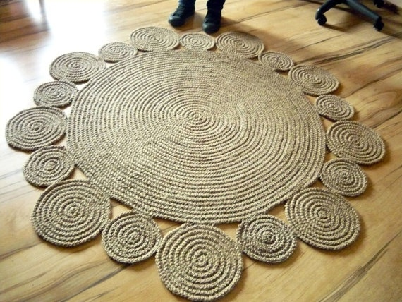 5 ft 152 cm Playful Round Rug by natural jute by GreatHome, $269.00