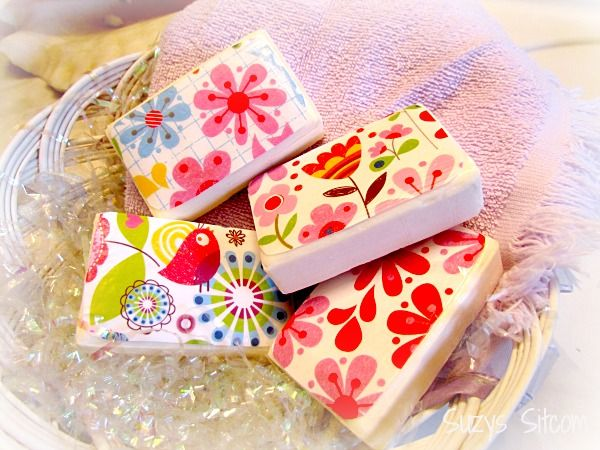 Create simple decorative soaps using scrapbook paper and Mod Podge!  Any theme goes!