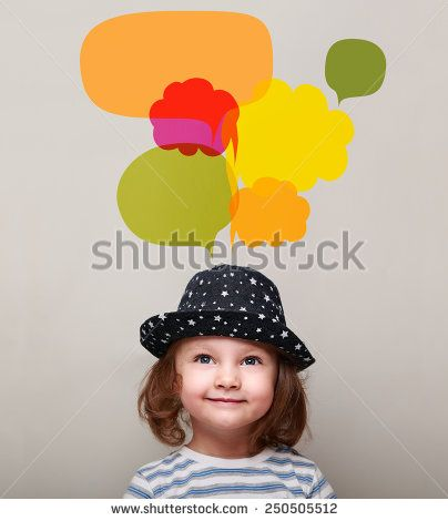 Dreaming kid girl in hat smiling and looking up on many colorful bright bubbles on grey background - stock photo