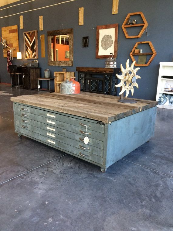 19 best coffee tables images on pinterest flat file cabinet drafting drawer coffee table by ironbirchfurniture on etsy malvernweather Choice Image