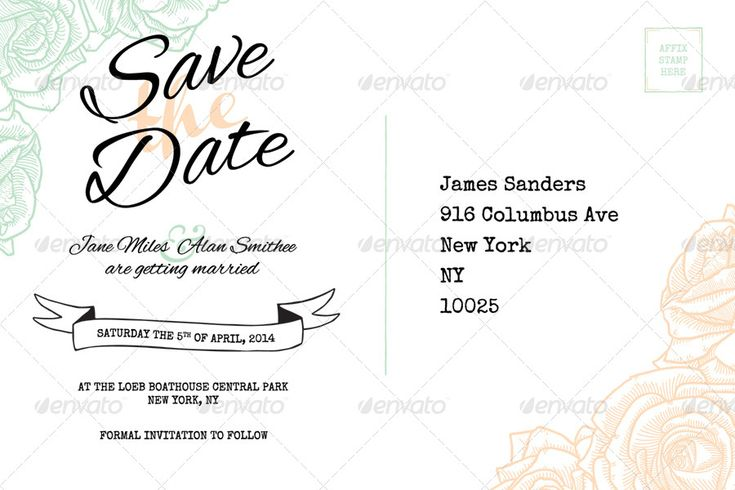 Elegant Rustic Floral Save the Date Postcard  Clean, simple, pastel, rose wedding invitations.  Template download from: http://graphicriver.net/item/elegant-rustic-floral-wedding-invitation/7780848?WT.ac=search_thumb&WT.z_author=PixelJam