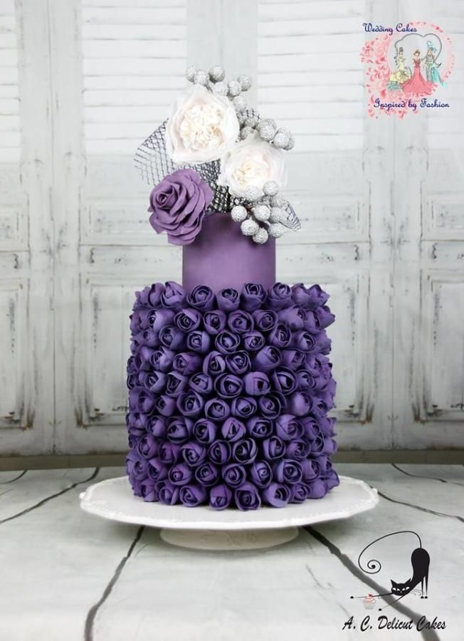 The 300 Purple Buds - Wedding Cakes Inspired By Fashion A Worldwide Collaboration - Cake by Delicut Cakes