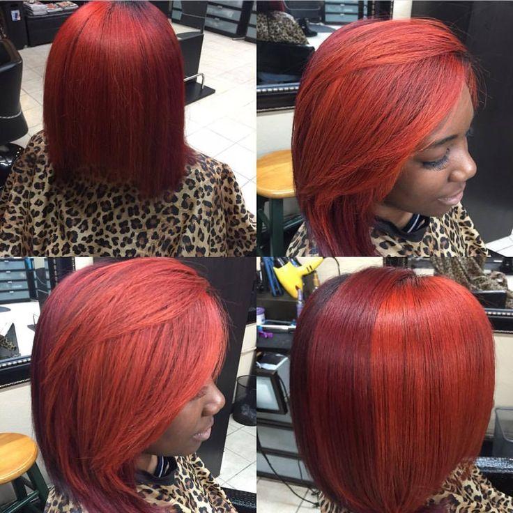 Bob Red Black Weave Bob Weave Hairstyles Pinterest