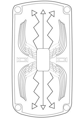 Roman Shield coloring page from Ancient Rome and Roman Empire category. Select from 24848 printable crafts of cartoons, nature, animals, Bible and many more.