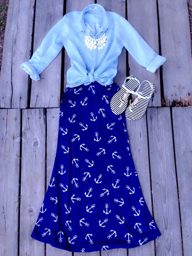 Nautical Anchor Print Maxi Skirt from Jane.com #veryjane // Ashley Amber: Modestly Hot Blog