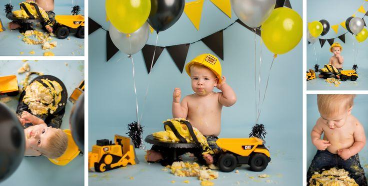 Boy Cake Smash, Construction, Blue, Blue Yellow, Dump Trucks, Buffalo, NY