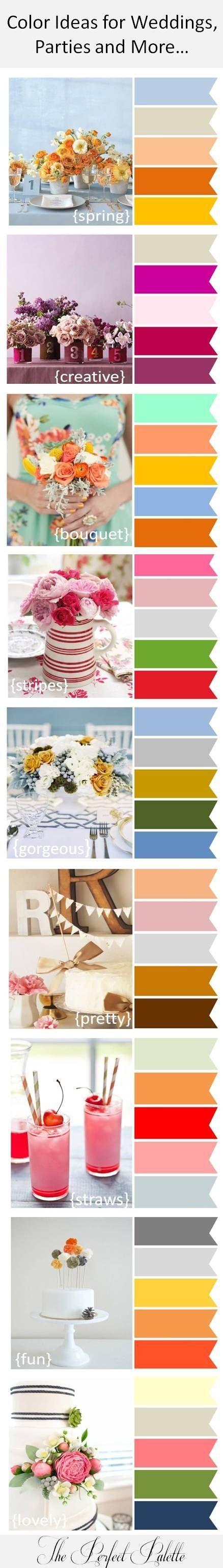 Paletas de color para bodas, fiestas