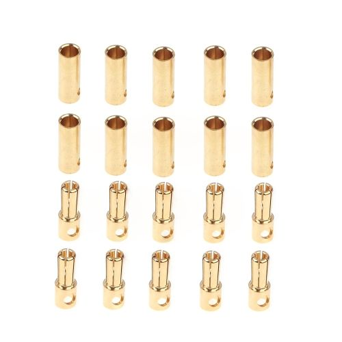 10 Pairs 5.0mm Copper Bullet Banana Plug Connectors Male + Female for RC Motor ESC Battery Part
