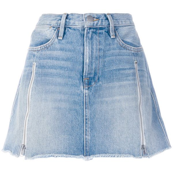 Frame Denim a-line denim skirt (1,240 ILS) ❤ liked on Polyvore featuring skirts, blue, blue a line skirt, knee length denim skirt, a line denim skirt, a-line skirts and blue skirts