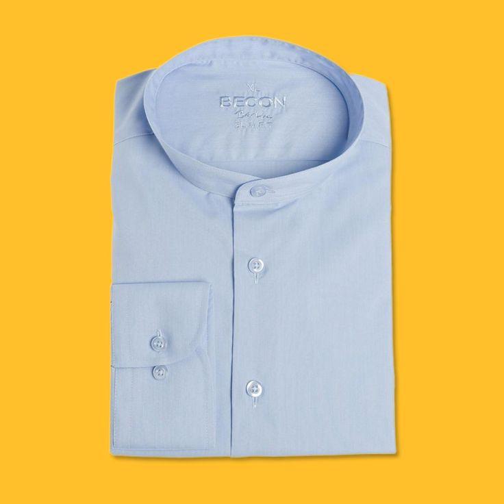 Business Chic! Ein tailliertes Hemd aus reiner Baumwolle mit Stehkragen ist ein Must-Have für alle Business-Anlässe!