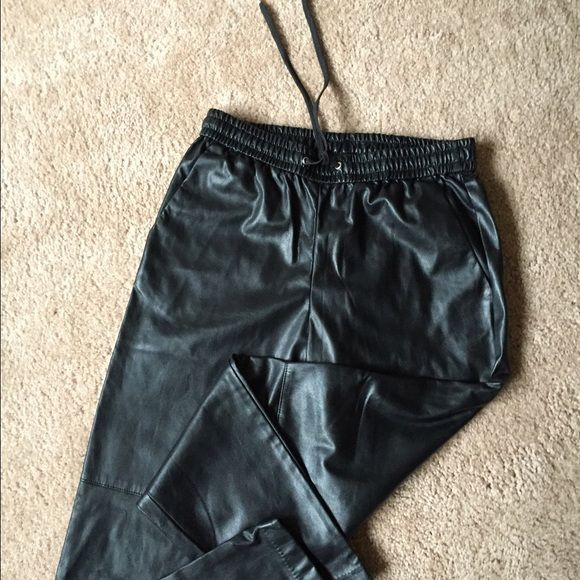 Leather joggers Never worn great leather joggers super comfy H&M Pants Track Pants & Joggers