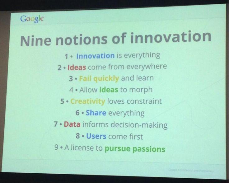 Google's 9 notions of innovation