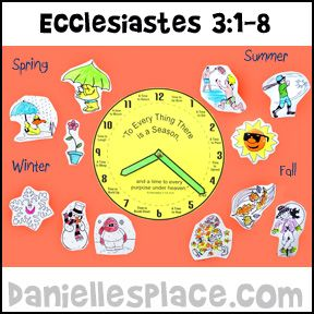 Ecclesiastes 3:1-8 - Activity Bible Sheet for Children's Sunday School from www.daniellesplace.com