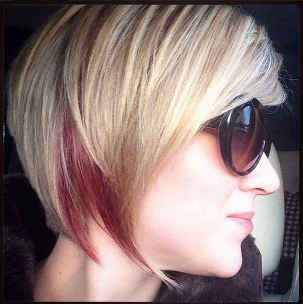 How I Style My Inverted Or Stacked Bob - Asymmetrical Bob #bob #invertedbob #stackedbob #asymmetricalbob, #redlowlights, #blondehair #2015hair #2015hairstyles #hairtutorial #shorthair