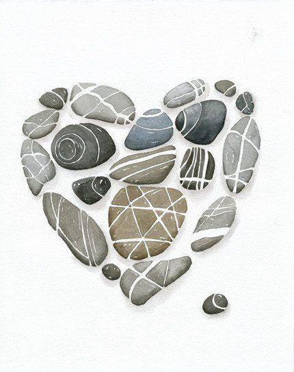 Heart Pebbles No.6 Art Print, 8x10 Limiterd Edition Watercolor by Lorisworld …