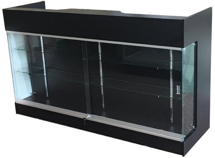 6' ledgetop counter with showcase, cash register stand