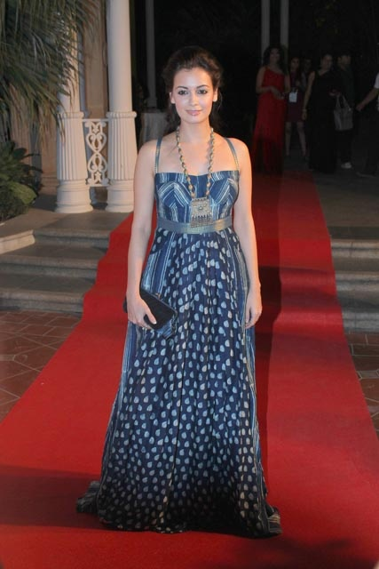 Dia mirza in indigo hand block printed rajasthan gown from Grassroot