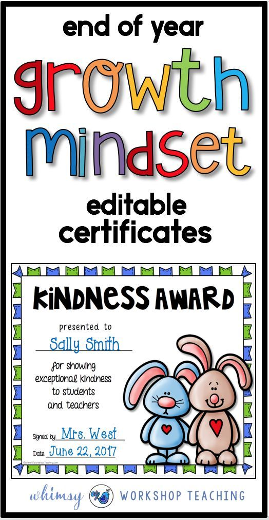 A great addition to your growth mindset classroom. End of year certificates are editable and academic topics are included!