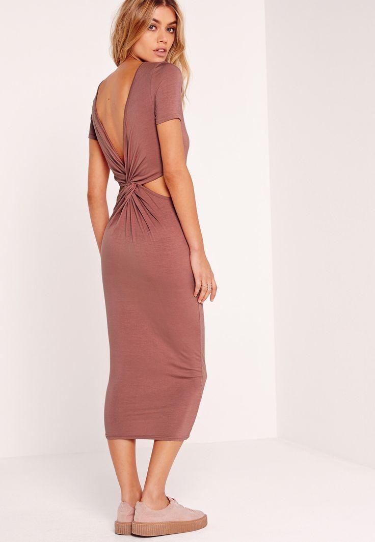 Missguided - Twist Back Midi Dress Pink