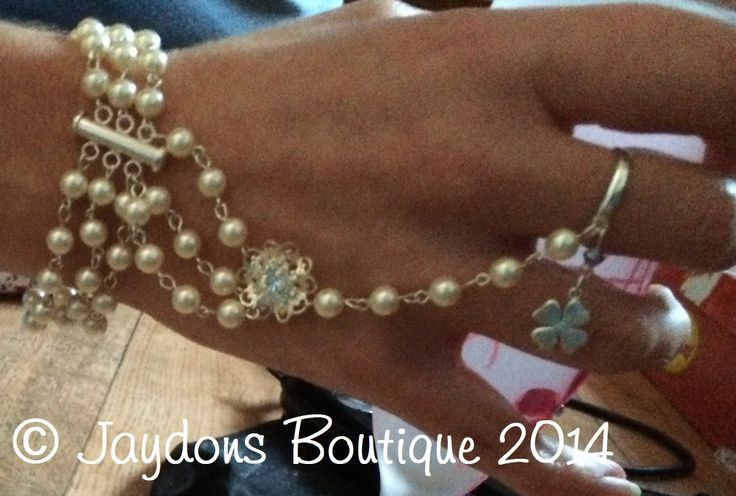 Stunning Swarovski Pearls & Sterling Silver Bracelet-Ring, check out or blog for new products for 2014 - http://jaydons-boutique.co.uk/blog.aspx
