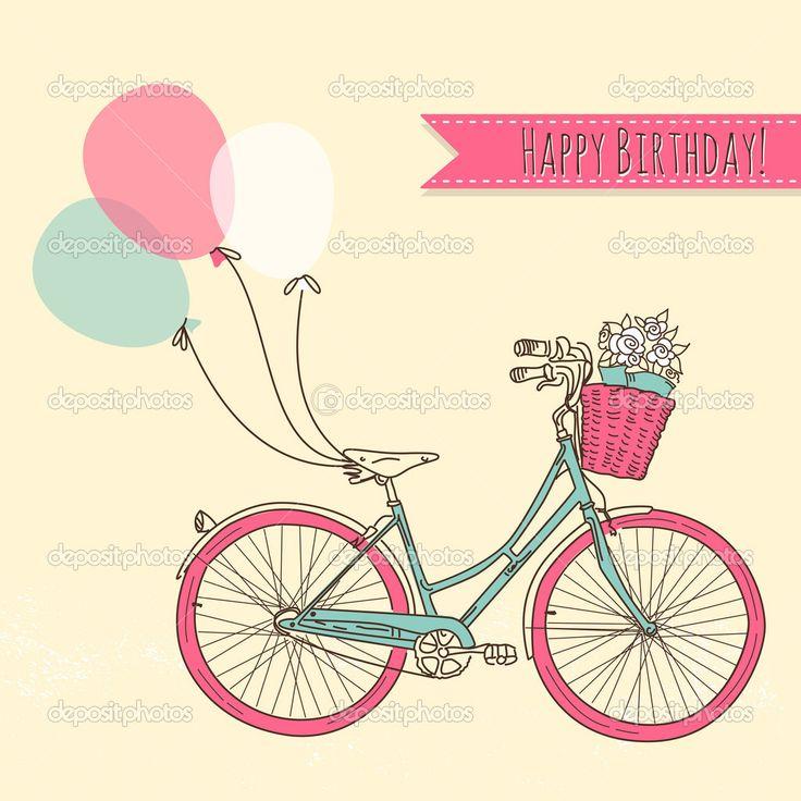 велосипед с шарами и корзиной, полной цветов, романтический день рождения - Стоковая иллюстрация: 16791501