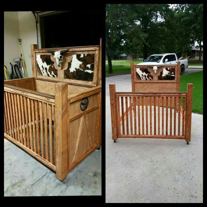 custom western baby crib nursery furniture converts to full bed by Marshall Woodworking  https://www.facebook.com/marshallwoodworking/