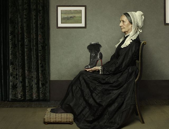 """Peter Lippmann collab with Christian Louboutin,  """"Whistler's Mother"""" pictured with the Tootsie roccia leather ankle boot with laser etched pony panelling and geoemtric studded piping."""