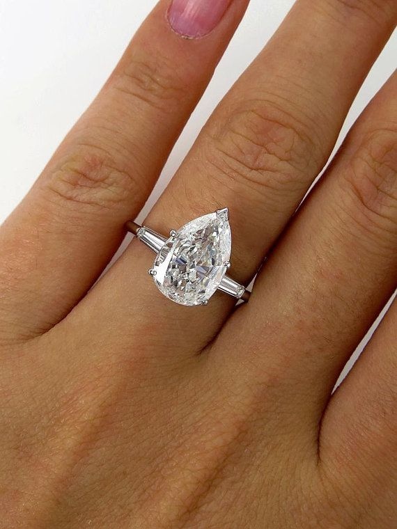Reserved...Stunning GIA Art Deco 3.78ctw Old Euro PEAR Cut Diamond Engagement Platinum Cluster Ring on Etsy