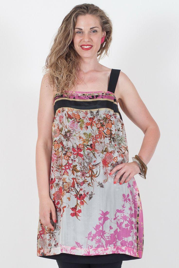 Mini #Abito da donna #Madrilena  - 100% Pura Seta - Spalline in Grogren - Fantasia floreale - Lavaggio delicato a 30°