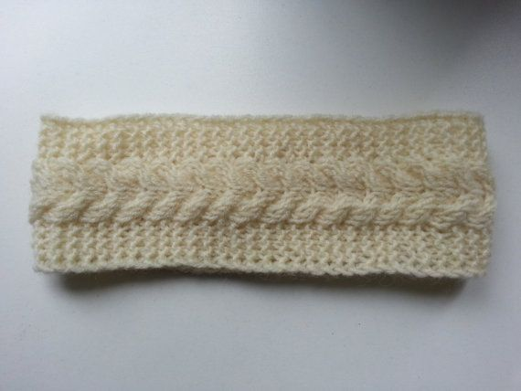 Handmade white knitted headband. 50 % wool