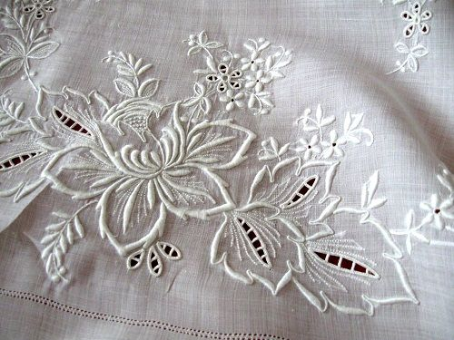 Vintage Linen Whitework Tablecloth
